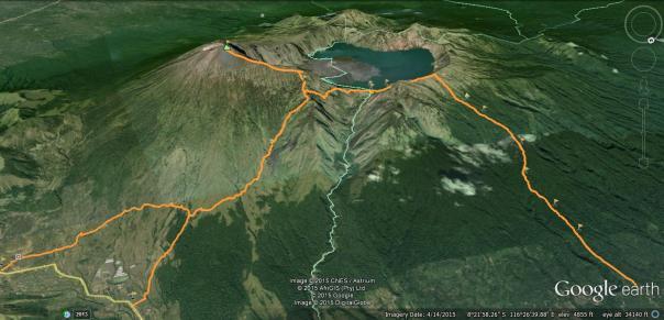 peta jalur Trekking Gunung Rinjani Lombok